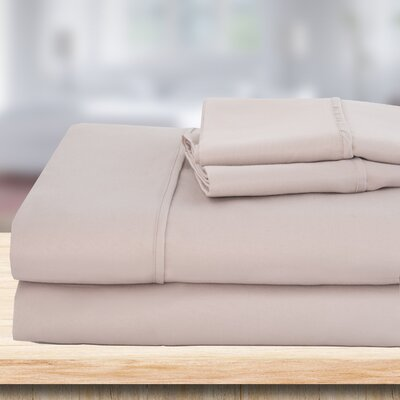 4 Piece 1500 Thread Count Sheet Set Color: Taupe, Size: Queen