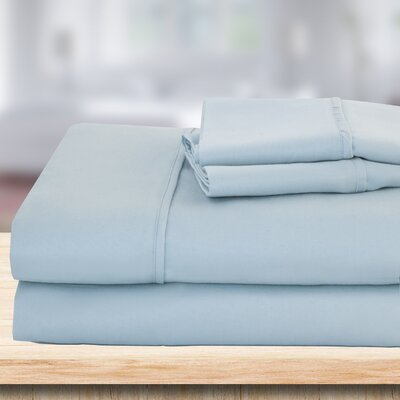 4 Piece 1500 Thread Count Sheet Set Color: Light Blue, Size: King