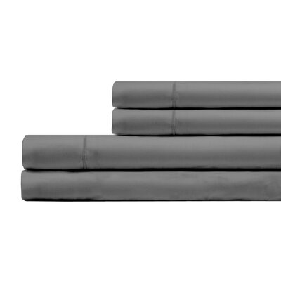 Ketchum 300 Thread Count 100% Cotton 4 Piece Sheet Set Color: Platinum, Size: Queen