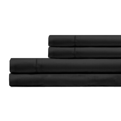 Ketchum 300 Thread Count 100% Cotton 4 Piece Sheet Set Color: Black, Size: King