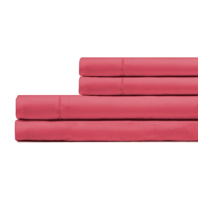Ouatchia 300 Thread Count 100% Cotton 4 Piece Sheet Set Size: Full/Double, Color: Coral