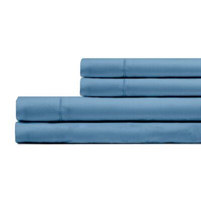 Ketchum 300 Thread Count 100% Cotton 4 Piece Sheet Set Color: Coastal Blue, Size: Full/Double