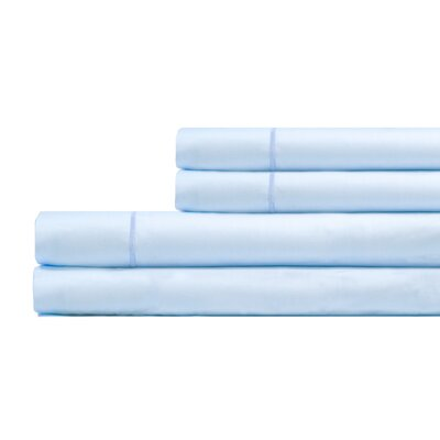 Ketchum 300 Thread Count 100% Cotton 4 Piece Sheet Set Color: Light Blue, Size: Queen