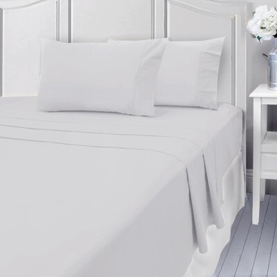 Andalusia 400 Thread Count 100% Cotton Sheet Set Size: Full/Double, Color: White