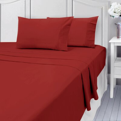 Andalusia 400 Thread Count 100% Cotton Sheet Set Size: Full/Double, Color: Burgundy