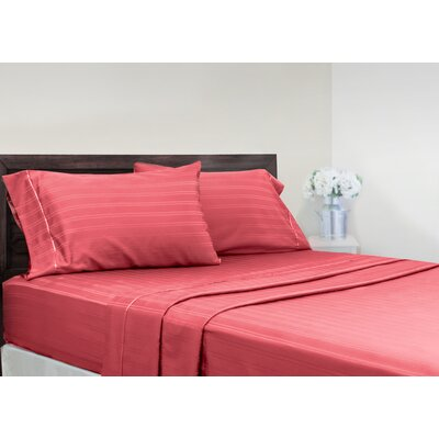 Brownridge 400 Thread Count 4 Piece 100% Cotton Sheet Set Size: King, Color: Coral
