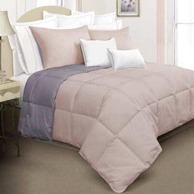 Nina Reversible Down Alternative Comforter Set Color: Pink, Size: Queen
