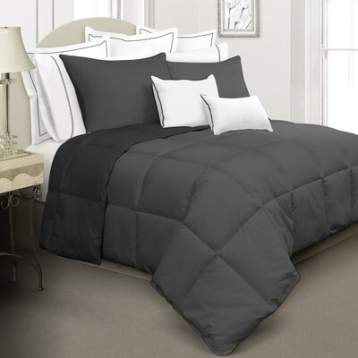Reversible Down Alternative Comforter Set Size: Twin, Color: Black