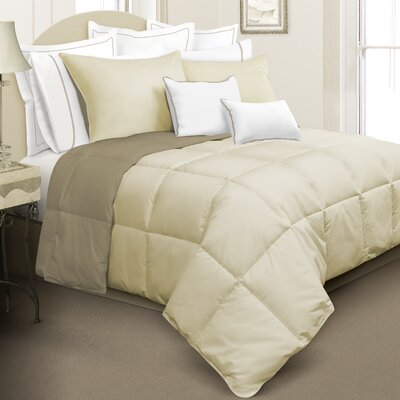Nina Reversible Down Alternative Comforter Set Color: Beige, Size: Queen