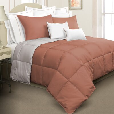 Nina Reversible Down Alternative Comforter Set Color: Orange, Size: Queen