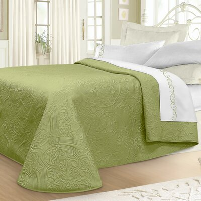 Margie Luxury Quilted Bedspread Color: Sage, Size: King