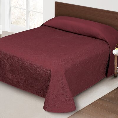 Margie Luxury Quilted Bedspread Color: Burgundy, Size: Queen