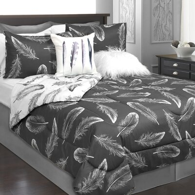 Roselle 3 Piece Reversible Comforter Set Color: Charcoal