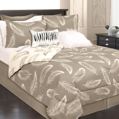Roselle 3 Piece Reversible Comforter Set Color: Ivory