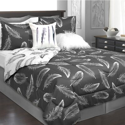 Roselle 2 Piece Reversible Comforter Set Color: Charcoal