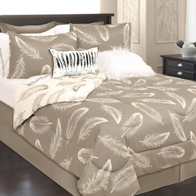 Roselle 2 Piece Reversible Comforter Set Color: Ivory