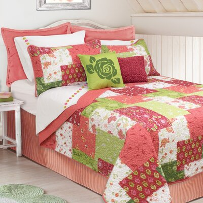 Alona 3 Piece Quilt Set Size: Queen, Color: Coral