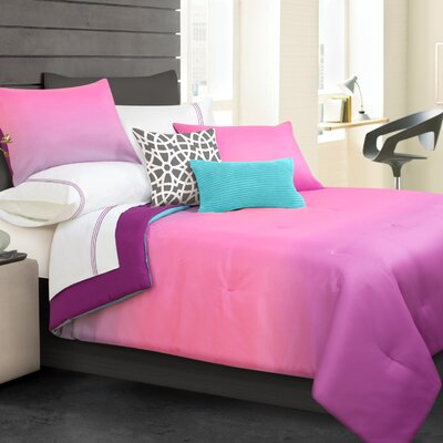 Ombre Comforter Set Color: Pink, Size: Queen