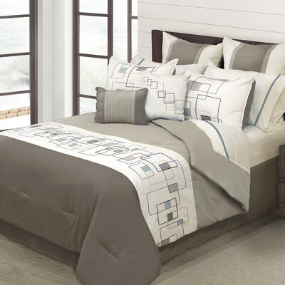 Mondrean 8 Piece Comforter Set Size: Queen, Color: Taupe