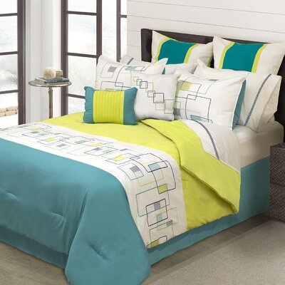 Berenice 8 Piece Comforter Set Color: Teal, Size: King