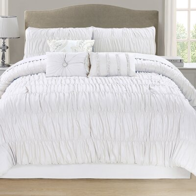 Paris 7 Piece Comforter Set Size: Queen, Color: White