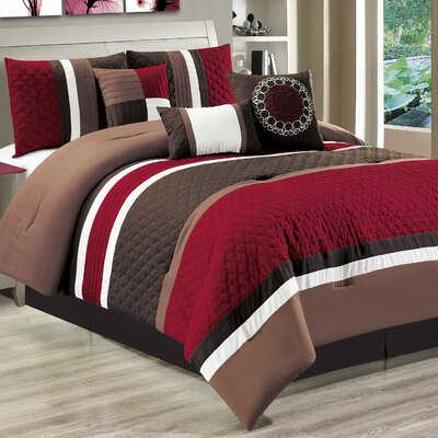 Casares 7 Piece Comforter Set Color: Burgundy, Size: King