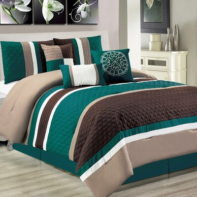 Cameron 7 Piece Comforter Set Size: Queen, Color: Teal