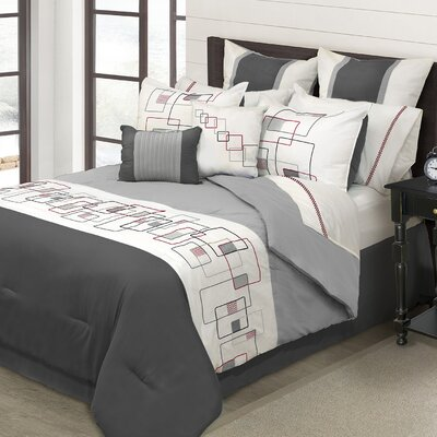Berenice 8 Piece Comforter Set Size: Queen, Color: Charcoal