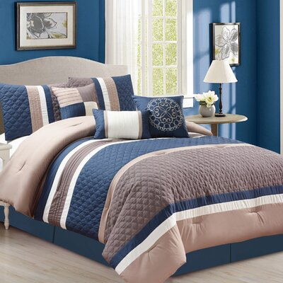 Cameron 7 Piece Comforter Set Color: Blue, Size: King