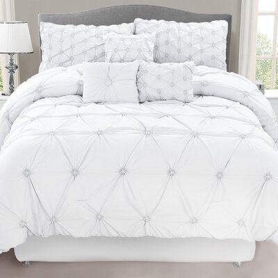 Halcott 7 Piece Comforter Set Size: Queen, Color: White