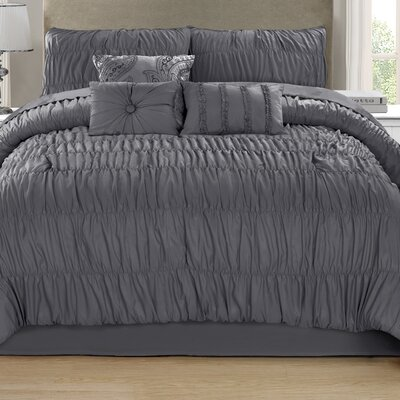 Sibdon 7 Piece Comforter Set Size: Queen, Color: Charcoal