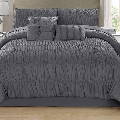 Paris 7 Piece Comforter Set Color: Charcoal, Size: King