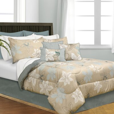 Bernice 7 Piece Reversible Comforter Set Size: Queen
