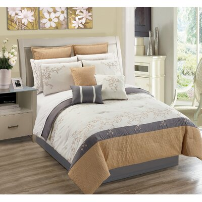 Greenmeadow Nature/Floral 7 Piece Comforter Set Size: Queen