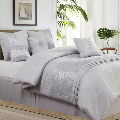 Rizzuto Gray 7 Piece Comforter Set Size: Queen