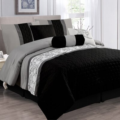 Kaspar Black 7 Piece Comforter Set Size: King