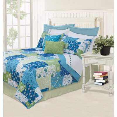 Hermina Quilt Set Color: Blue, Size: King