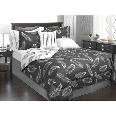 Roselle 2 Piece Comforter Set Color: Black