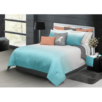 Roni 2 Piece Comforter Set Color: Blue, Size: King