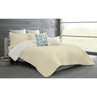 Ria 2 Piece Quilt Set Color: Ivory, Size: Twin