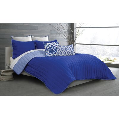 Ria 2 Piece Quilt Set Size: Full/Double, Color: Royal Blue