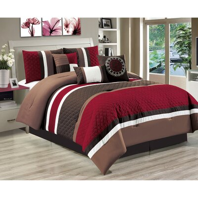 Keefer 7 Piece Comforter Set Size: King, Color: Red