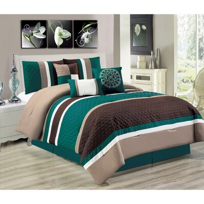 Keefer 7 Piece Comforter Set Color: Green, Size: Queen