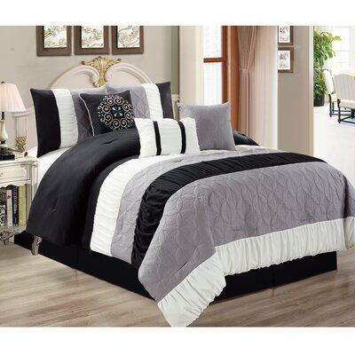 Kastner 7 Piece Comforter Set Color: Gray/White, Size: Queen