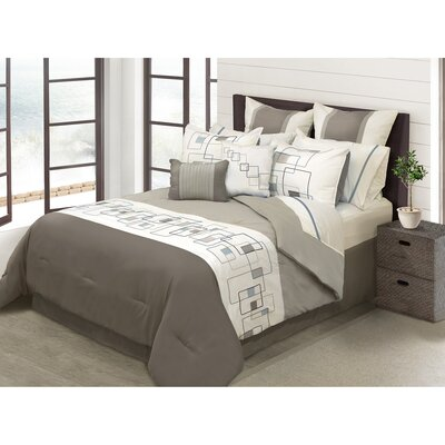 River House 8 Piece Comforter Set Size: King, Color: Tan
