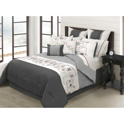 River House 8 Piece Comforter Set Color: Black, Size: King