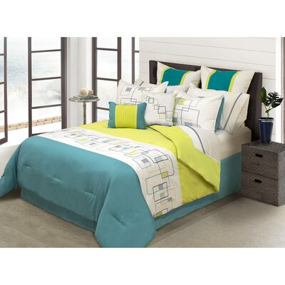 River House 8 Piece Comforter Set Size: Full/Double, Color: Teal