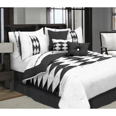 Kaufmann 7 Piece Comforter Set Color: Black/White, Size: Full/Double