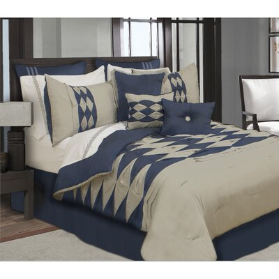 Kaufmann 7 Piece Comforter Set Size: King, Color: Navy/Tan