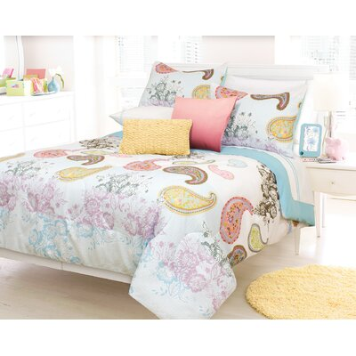 Roberson Comforter Set Color: Aqua, Size: Double/Queen